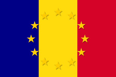 european culture: Romania national flag with a star circle of EU Illustration
