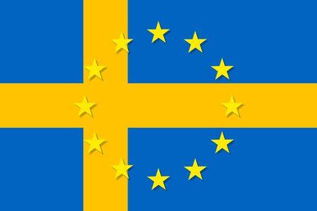 bandera de suecia: Sweden national flag with a star circle of EU