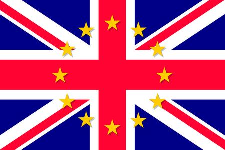 european economic community: United Kingdom national flag with a star circle of EU Illustration