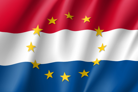 The Netherlands national flag with a star circle of EU