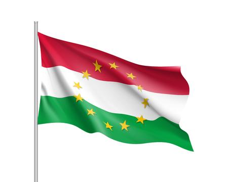 european economic community: Hungary national flag with a star circle of EU