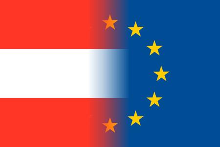 european economic community: Austria national flag with a circle of EU