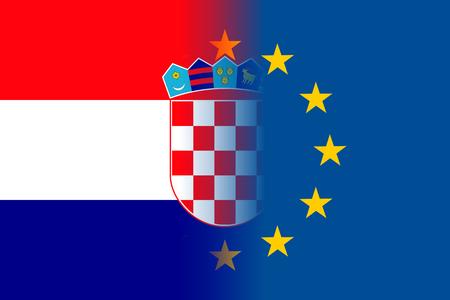 Croatia national flag with a circle of EU