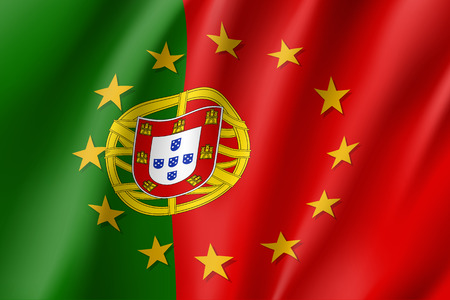 law of portugal: Portugal national flag with a star circle of EU