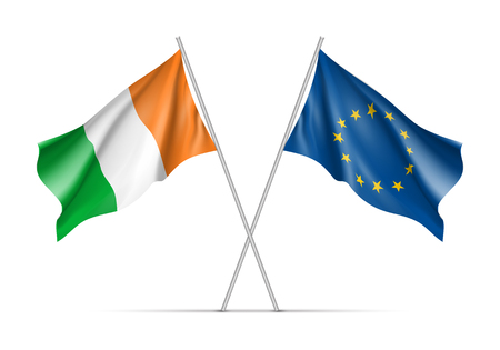 ireland flag: Ireland and European Union waving flags on flagpole. EU sign with twelve gold stars on blue and Ireland national symbol green, white and ofange colors. Two flags isolated on white background Illustration