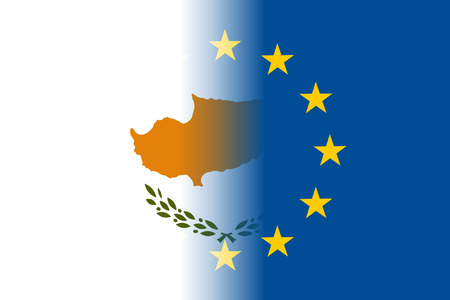 european community: Cyprus national flag with a flag of European Union twelve gold stars, identity and unity with EU, member since 1 May 2004. Vector flat style illustration