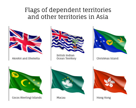 Set of waving flags of dependent territories in Asia: Akrotiri and Dhekelia, British Indian Ocean Territory, Christman and Keeling Islands, Macau, Hong Kong. Collection with 6 signs. Vector isolated