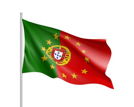 Portugal national flag with a star circle of EU