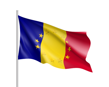 Romania national flag with a star circle of EU Illustration