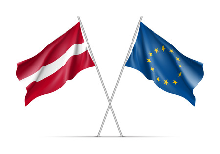 european culture: Latvia and European Union waving flags