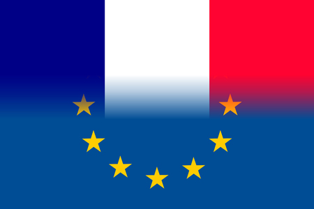 France national flag with a star circle of EU