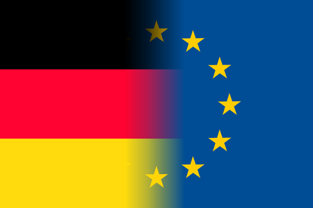 Germany national flag with a star circle of EU