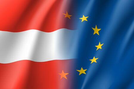 Symbol of Austria is EU member. European Union sign with twelve gold stars on blue and Austrian national flag in red and white colors. Vector isolated icon
