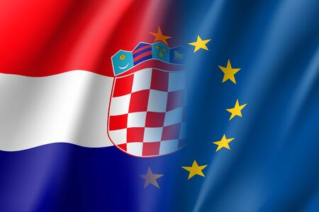 Symbol of Croatia is EU member. European Union sign with twelve gold stars on blue and Croatia national flag. Vector isolated icon Illustration