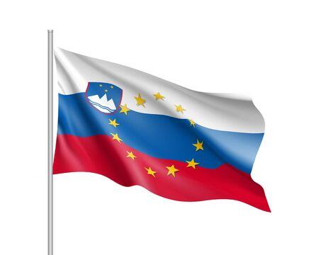 Slovenia national flag with a star circle of EU