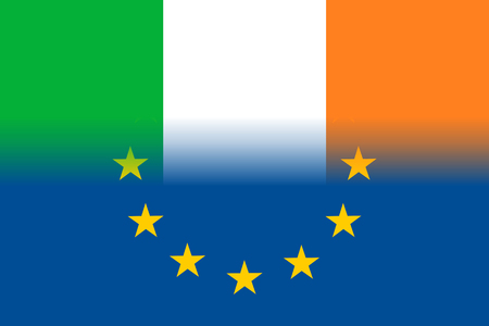european culture: Ireland national flag with a star circle of EU Illustration