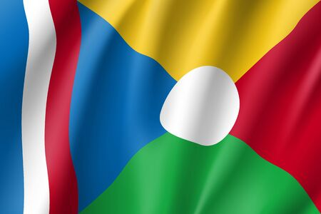 Waving flag of La Reunion