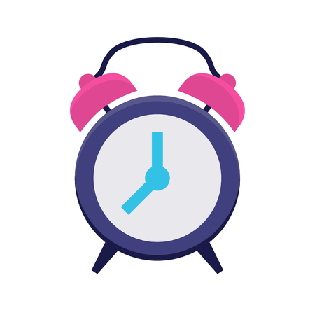 Clock flat icon. Classic alarm clock. Time, morning, hour or minute symbol. Web and mobile design element. Illustration