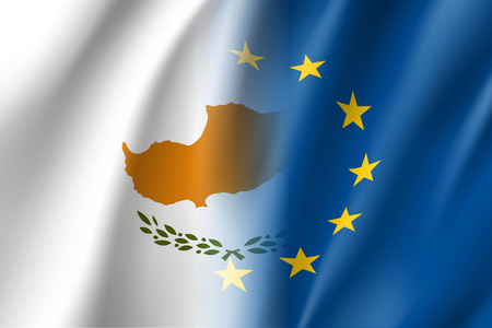 Symbol of Cyprus is EU member. European Union sign with twelve gold stars on blue and Cyprus national flag. Vector isolated icon
