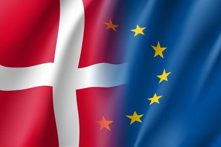 european community: Symbol of Denmark is EU member. European Union sign with twelve gold stars on blue and Denmark national flag. Vector isolated icon Illustration