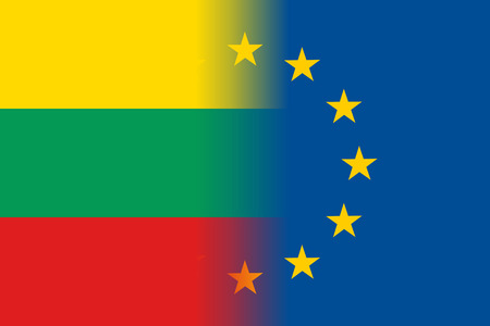 Lithuania national flag with a flag of European Union twelve gold stars, ideals of unity with EU, member since1 May 2004. Vector flat style illustration Illustration