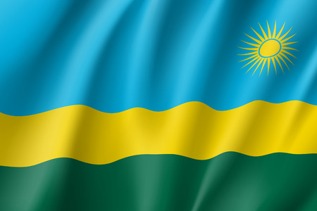 Waving flag of Rwanda. Symbol african state in proportion correctly and official colors. Patriotic sign East Africa country. Vector icon illustration