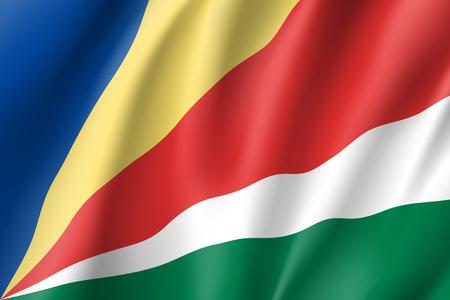 Sychelles の愛国的な国旗。