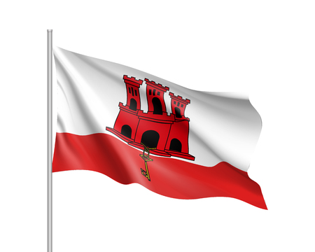 Waving flag of Gibraltar. Illustration of Europe country flag on flagpole. Vector 3d icon isolated on white background