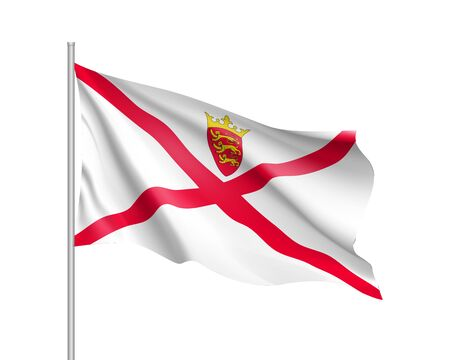 Waving flag of Jersey. Illustration of Europe country flag on flagpole. Vector 3d icon isolated on white background Illustration