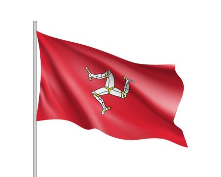 Waving flag of Isle of Man. Illustration of Europe country flag on flagpole. Vector 3d icon isolated on white background