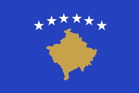 The flag of the Republic of Kosovo, partially recognised state in Southeastern Europe, blue field with a map in gold, surmounted by six white stars, in the centre. Vector flat style illustration Illustration