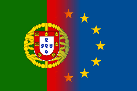 law of portugal: Portugal national flag with a flag of European Union twelve gold stars, symbol of unity with EU, member since 1 January 1986. Vector flat style illustration