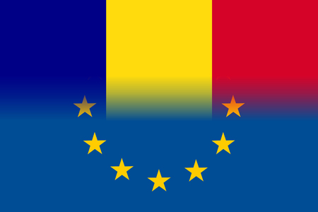 Romania national flag with a flag of European Union twelve gold stars, ideals of unity with EU, member since 1 January 2007. Vector flat style illustration