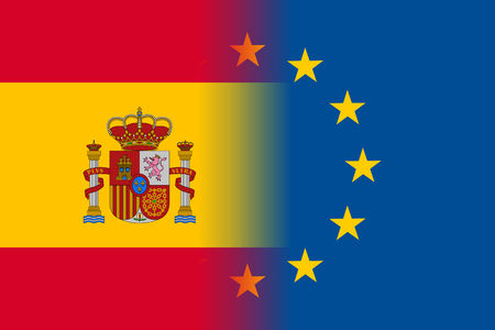 european culture: Spain national flag with a flag of European Union twelve gold stars, solidarity and harmony with EU, member since 1 January 1986. Vector flat style illustration