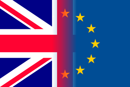 The United Kingdom national flag with a circle of European Union twelve gold stars, ideals of unity with EU, member since 1 January 1973. Vector flat style illustration