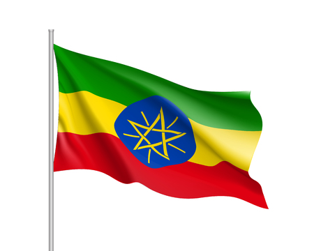 national flag ethiopia: Waving flag of Ethiopia. Sign african state in proportion correctly and official colors: red, green, yellow. Patriotic sign Eastern Africa country. Vector icon illustration