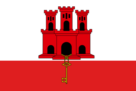 The flag of Gibraltar, white with a red stripe at the bottom, a three-towered red castle, in the middle tower hangs a gold key. Vector flat style illustration