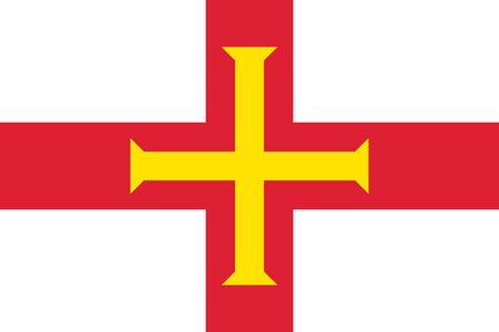 guernsey: Guernsey, island in the English Channel, civil and state flag, bright red and gold cross within it on white background. Vector flat style illustration