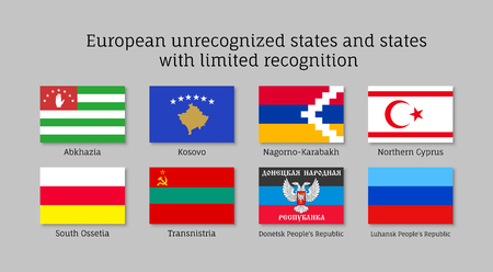 European unrecognized and with unlimited recognition states waving realistic flags, Abkhazia, Kosovo, Nogorno Karabakh, Northern Cyprus, South Ossetia, Transnistria, Donetsk, Luhansk peoples republic
