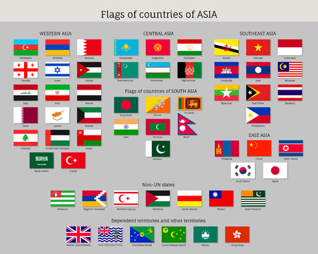 Big set of flags of Asia, official symbol of countries, full collection of political and government elements, isolated on white background, flat vector illustration