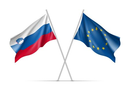 european culture: Slovenia and European Union waving flags on flagpole