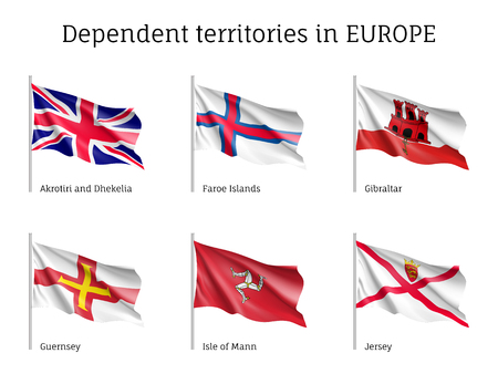 Dependent territories flag vector collection