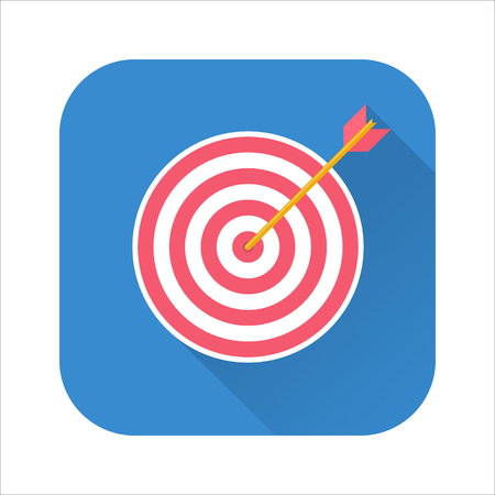 Business success concept icon. Archery target with arrow hit the mark, market competition or project winner.