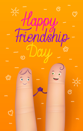 Happy friendship day card. Realistic finger people poster. Funny surprise, amazing greeting card for important occasion. Flat style vector illustration on orange background, vertical Illustration