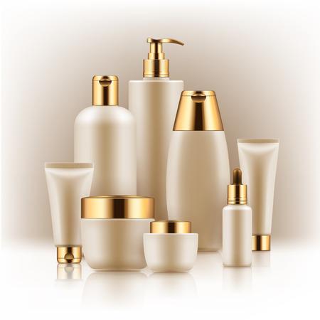 黒と金色の化粧品容器