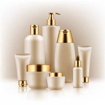 Black and golden cosmetic containers