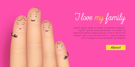 Happy family card. Realistic funny fingers with faces together. Inspirational and heartwarming poster. Flat style vector illustration pink background Illustration