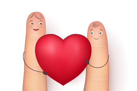Two funny fingers holding red heart . Inspirational love message for husband, boyfriend or special person. Flat style vector realistic illustration Illustration