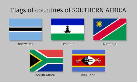 botswana: Southern Africa flat flag set Stock Photo