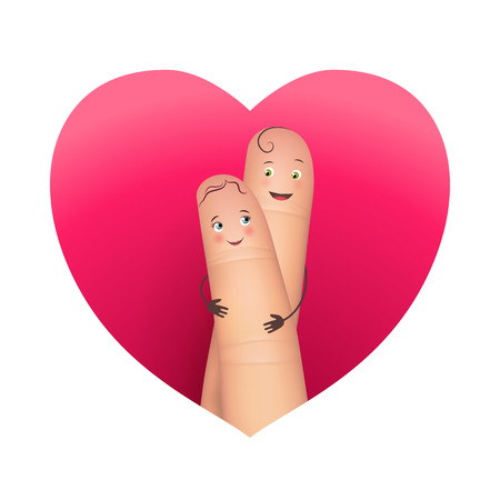 Finger copule in love hugging Illustration